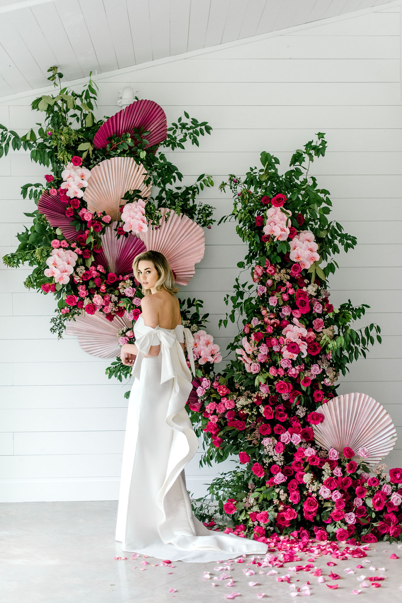 pink floral wall installation