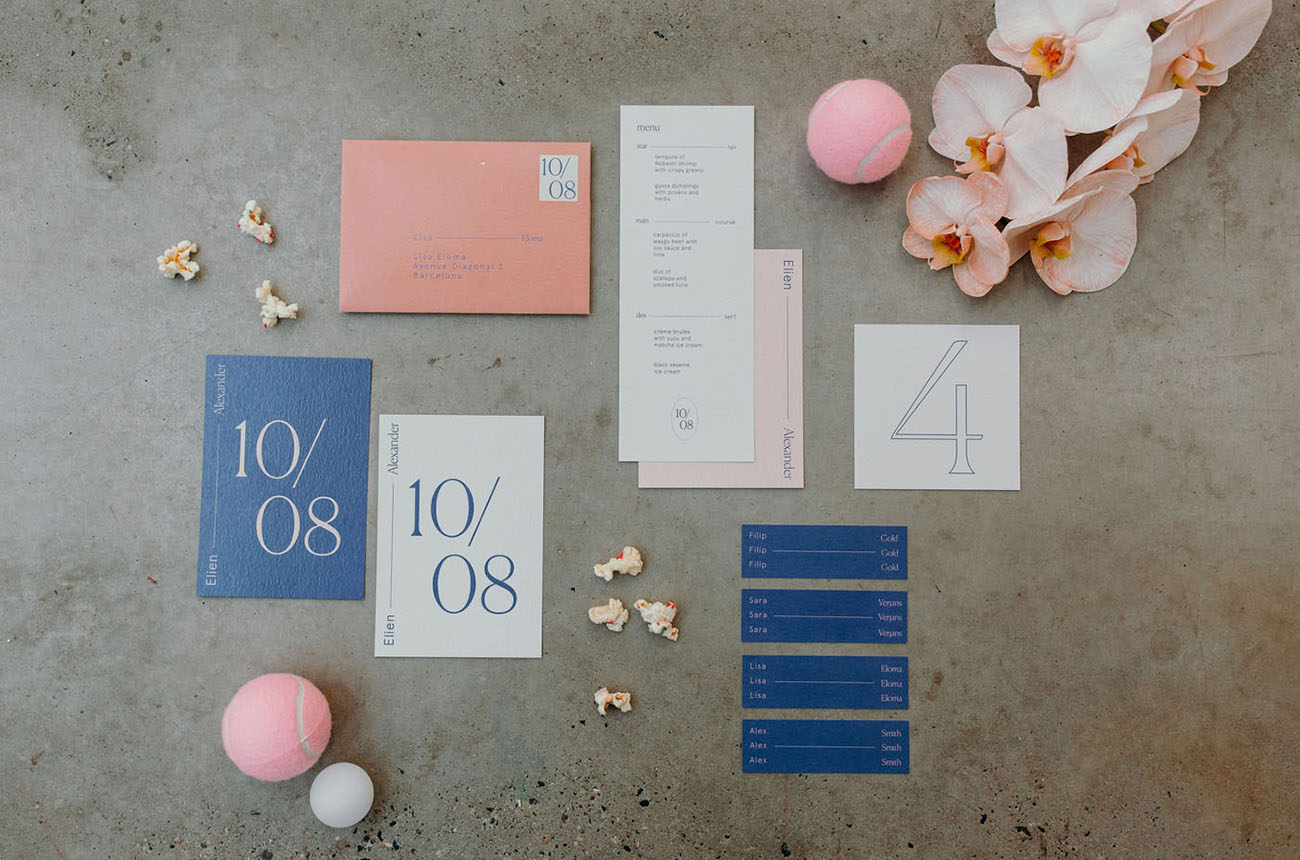 blue and pink invitation