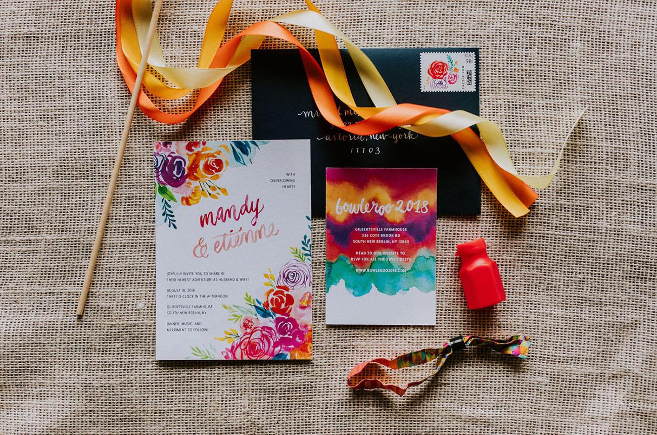 rainbow inspired invitation