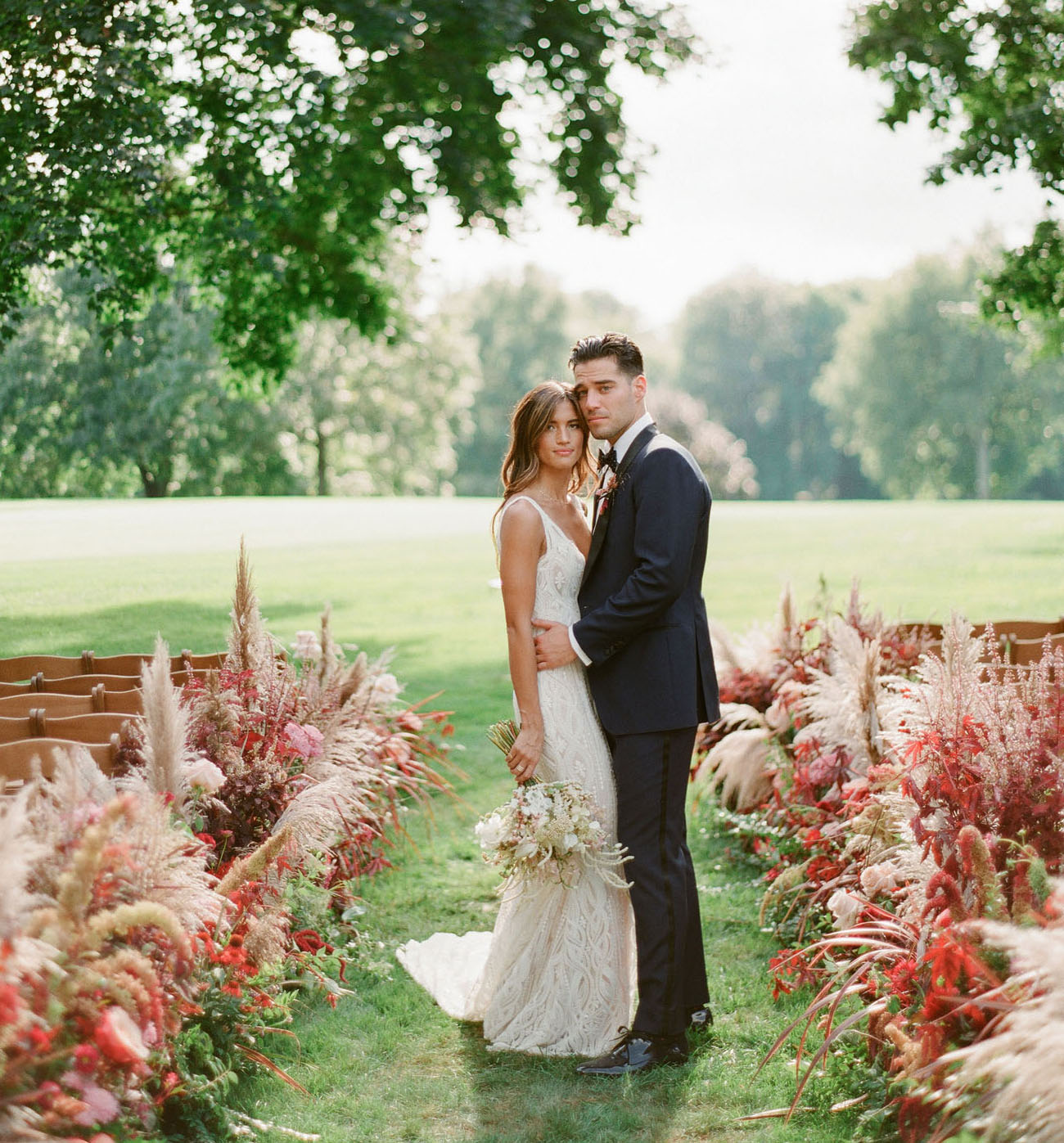 pampas grass wedding aisle florals
