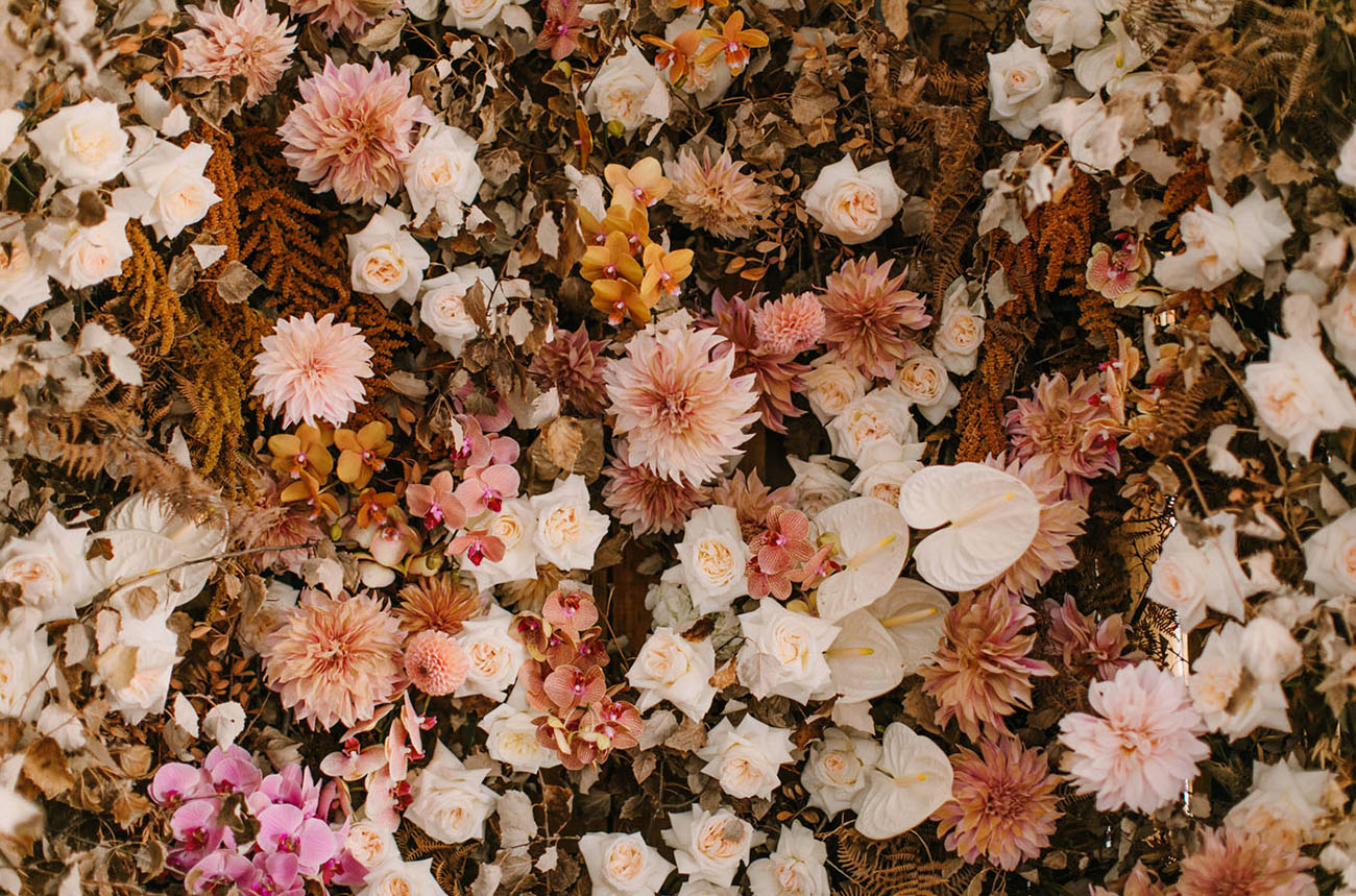 Autumn Flower Wall Wedding Inspiration