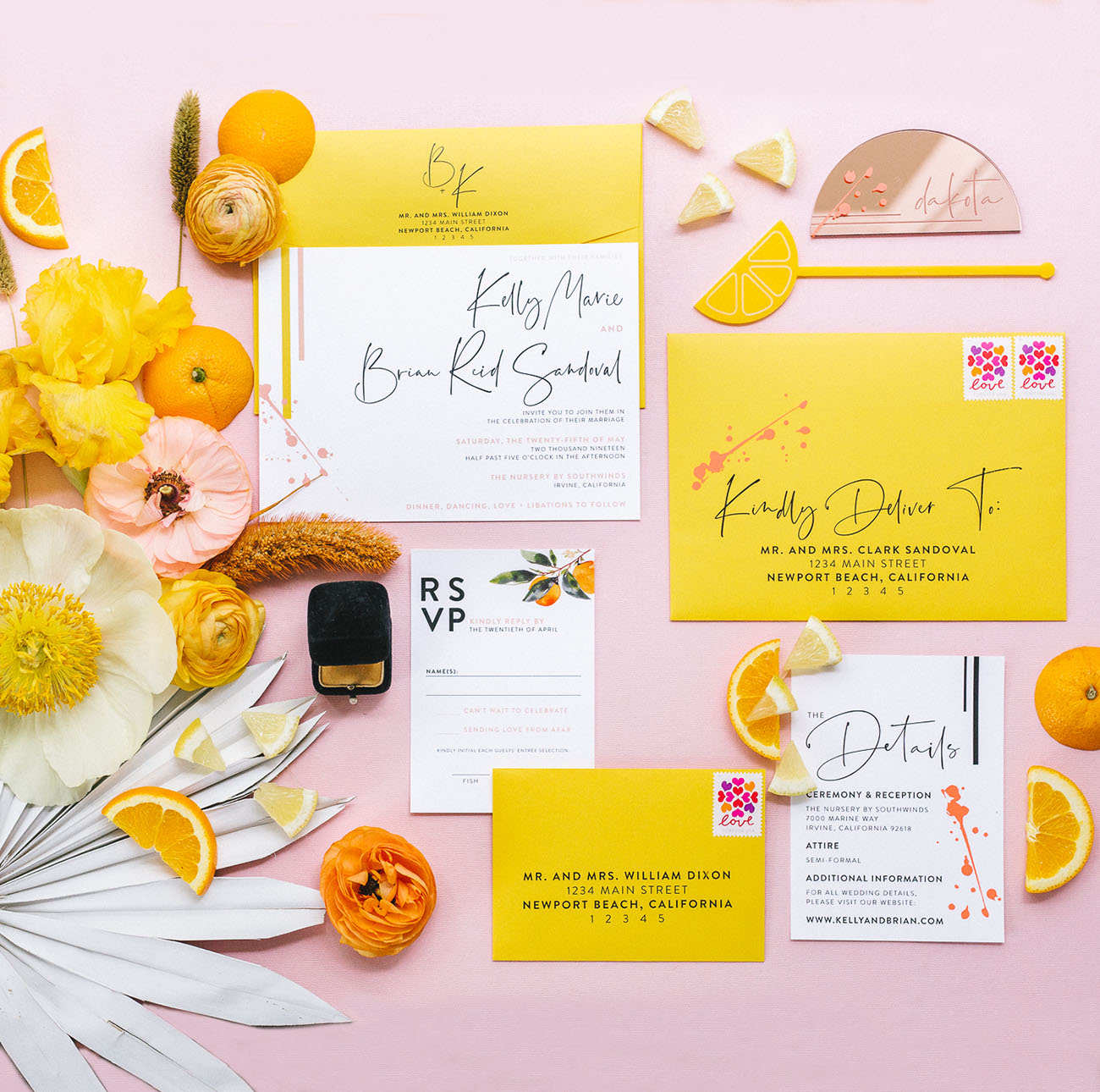 yellow wedding invitation
