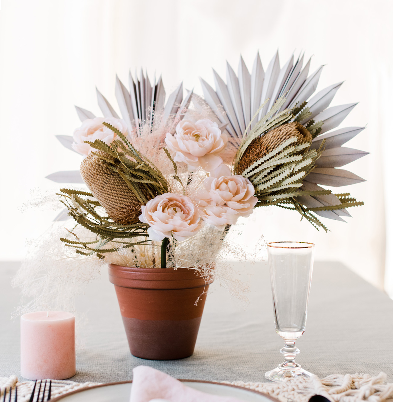 DIY spray painted floral centerpiece