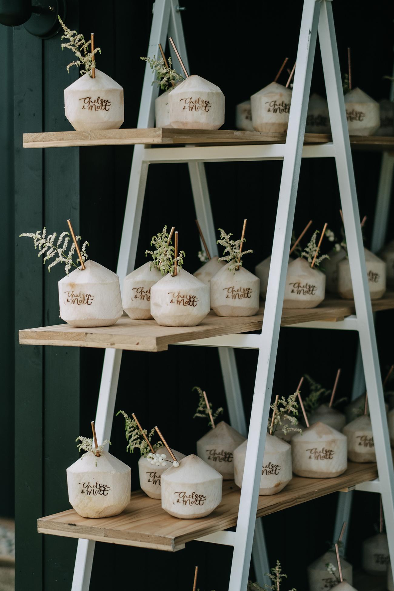 coconut drink display weddings