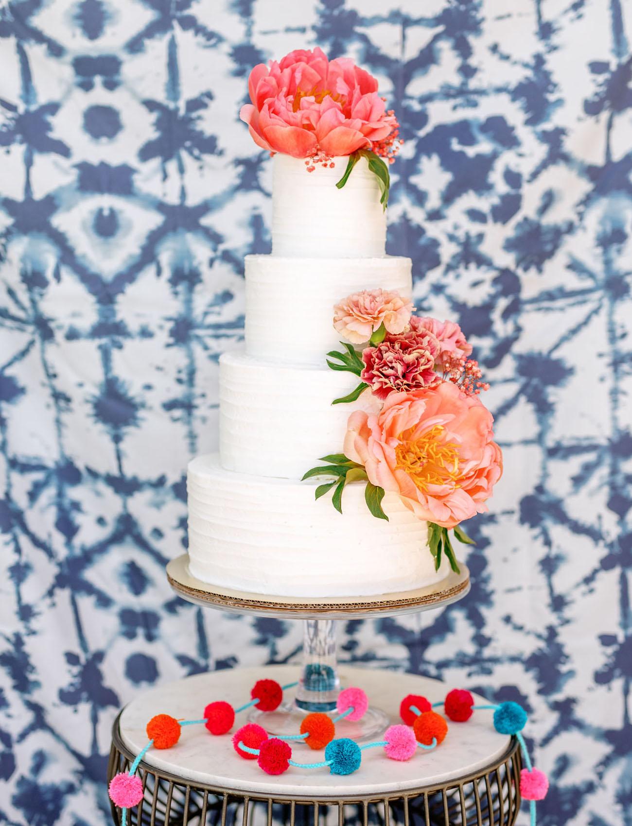 white cake shibori backdrop