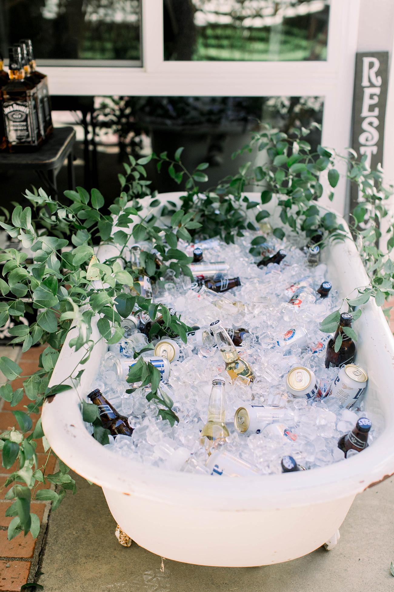 drinks served in old fashioned bath tub