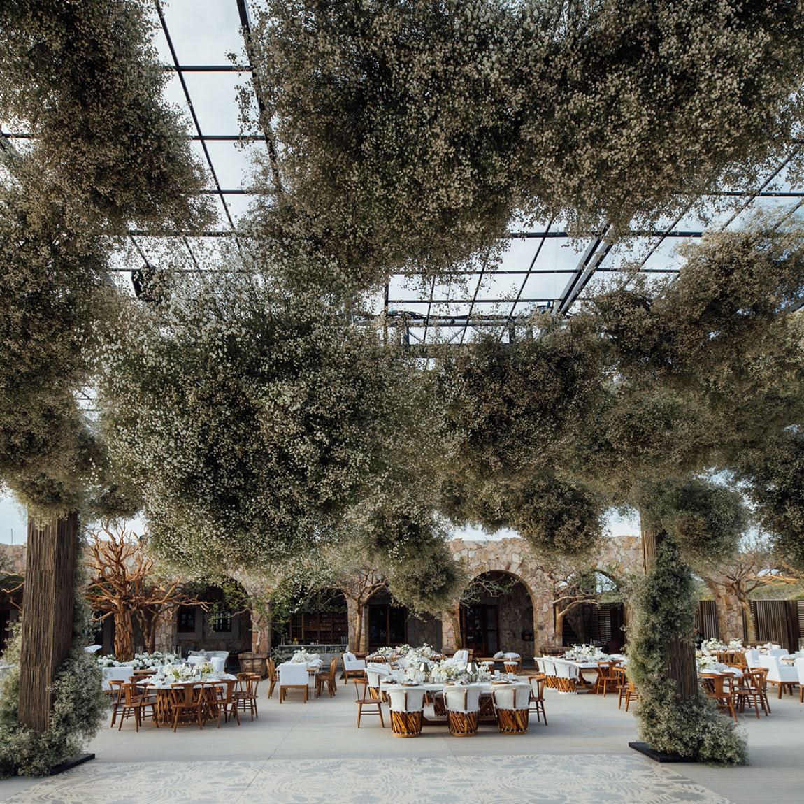 baby's breath hanging from ceiling for reception