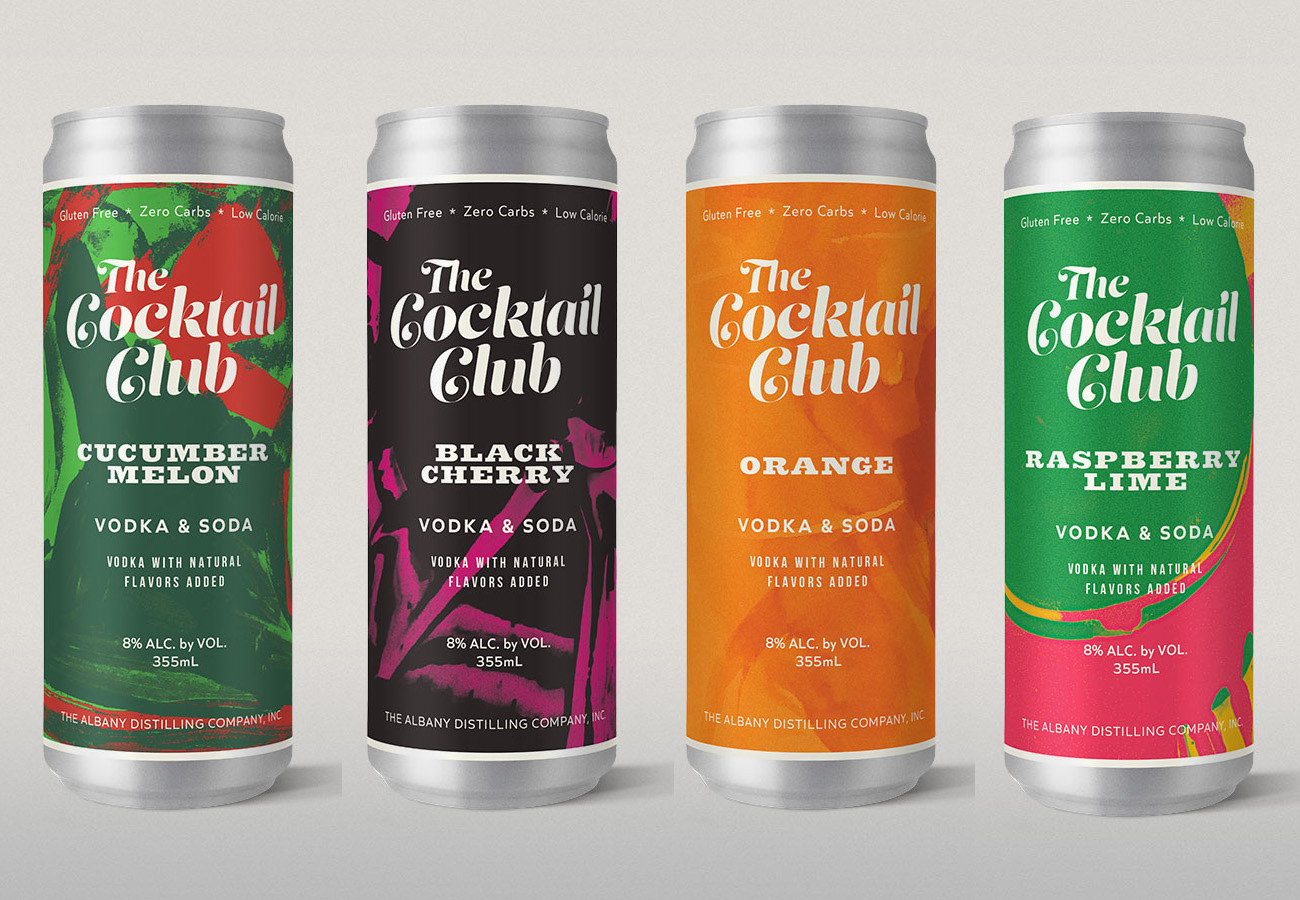 the cocktail club cocktails in a can from Albany Distilling Company