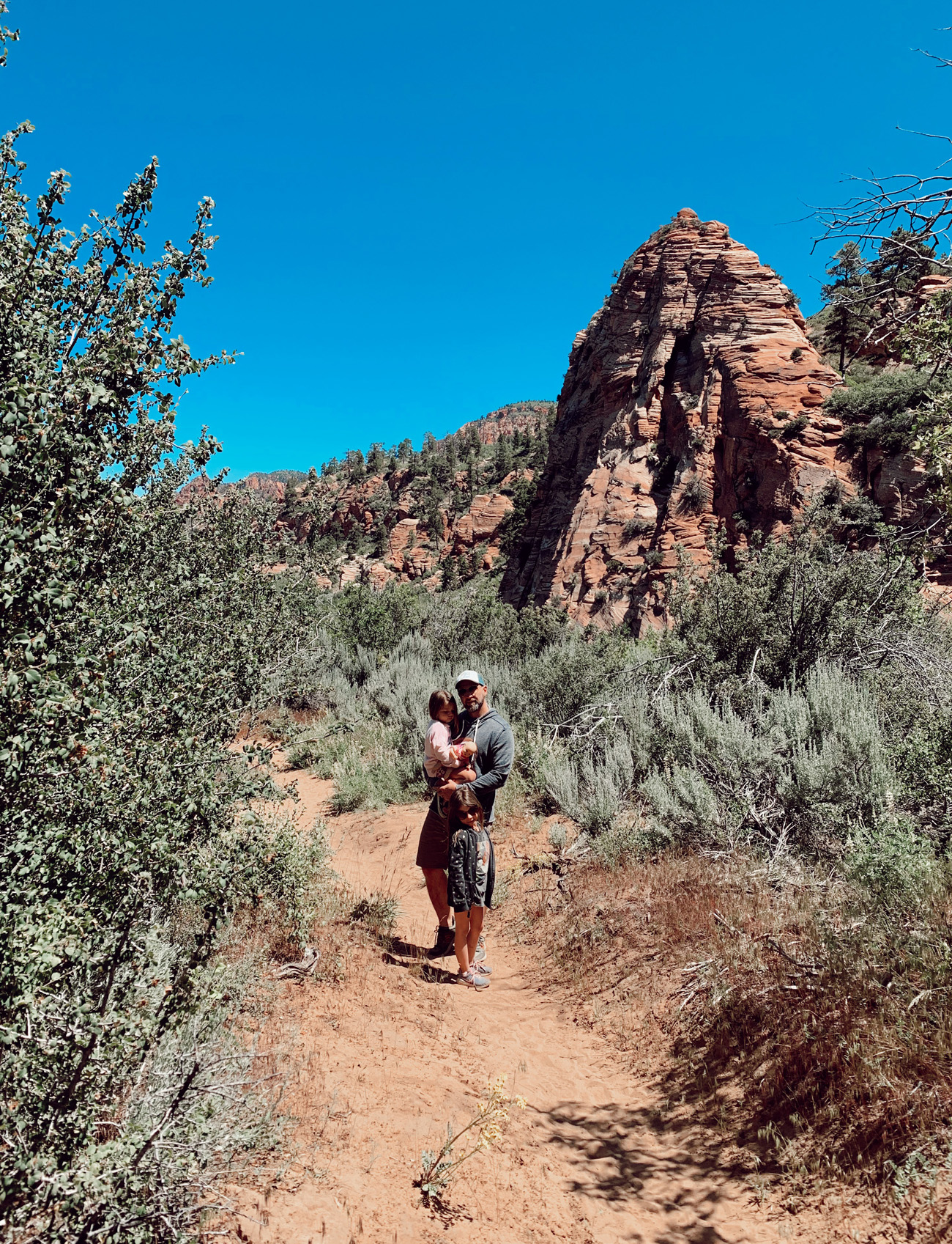 hiking in zion national park with a toddler