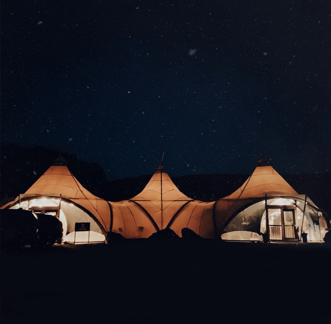 under canvas zion glamping night time