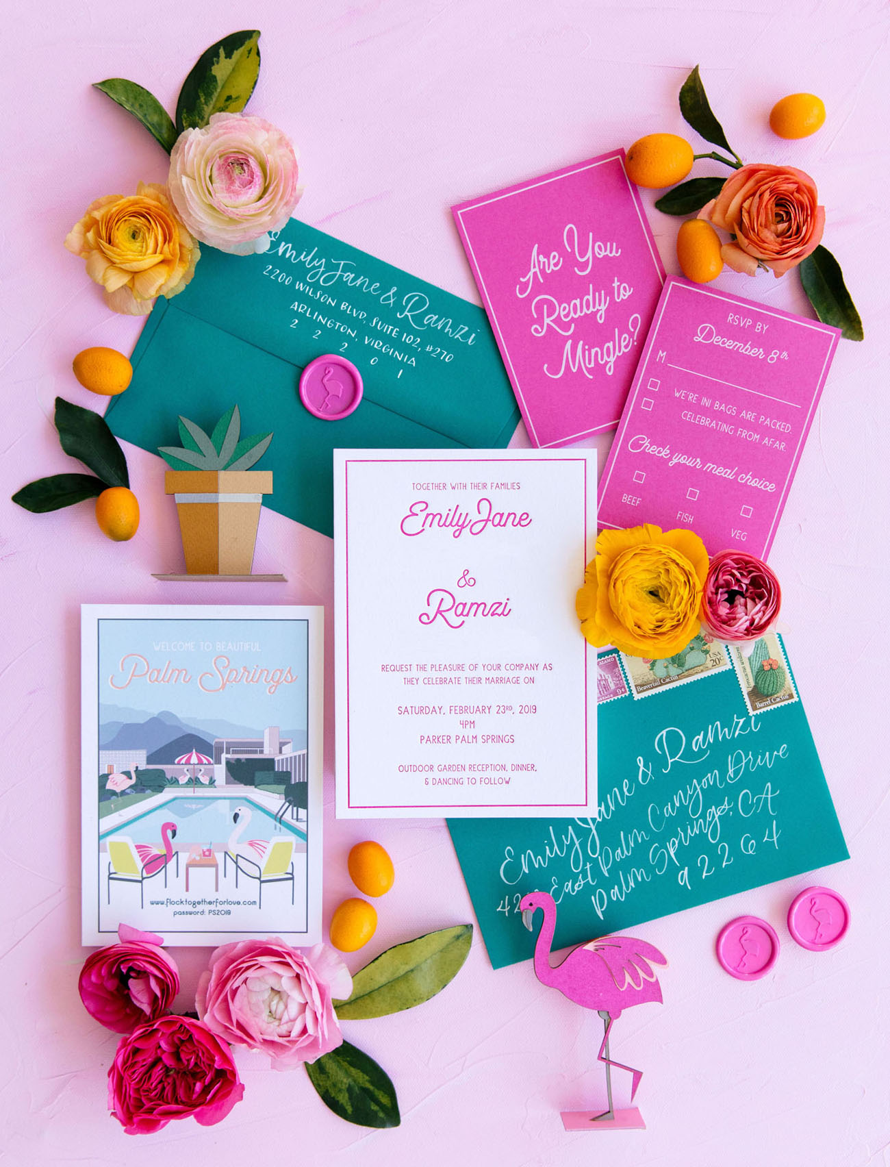 pink and green wedding invitation