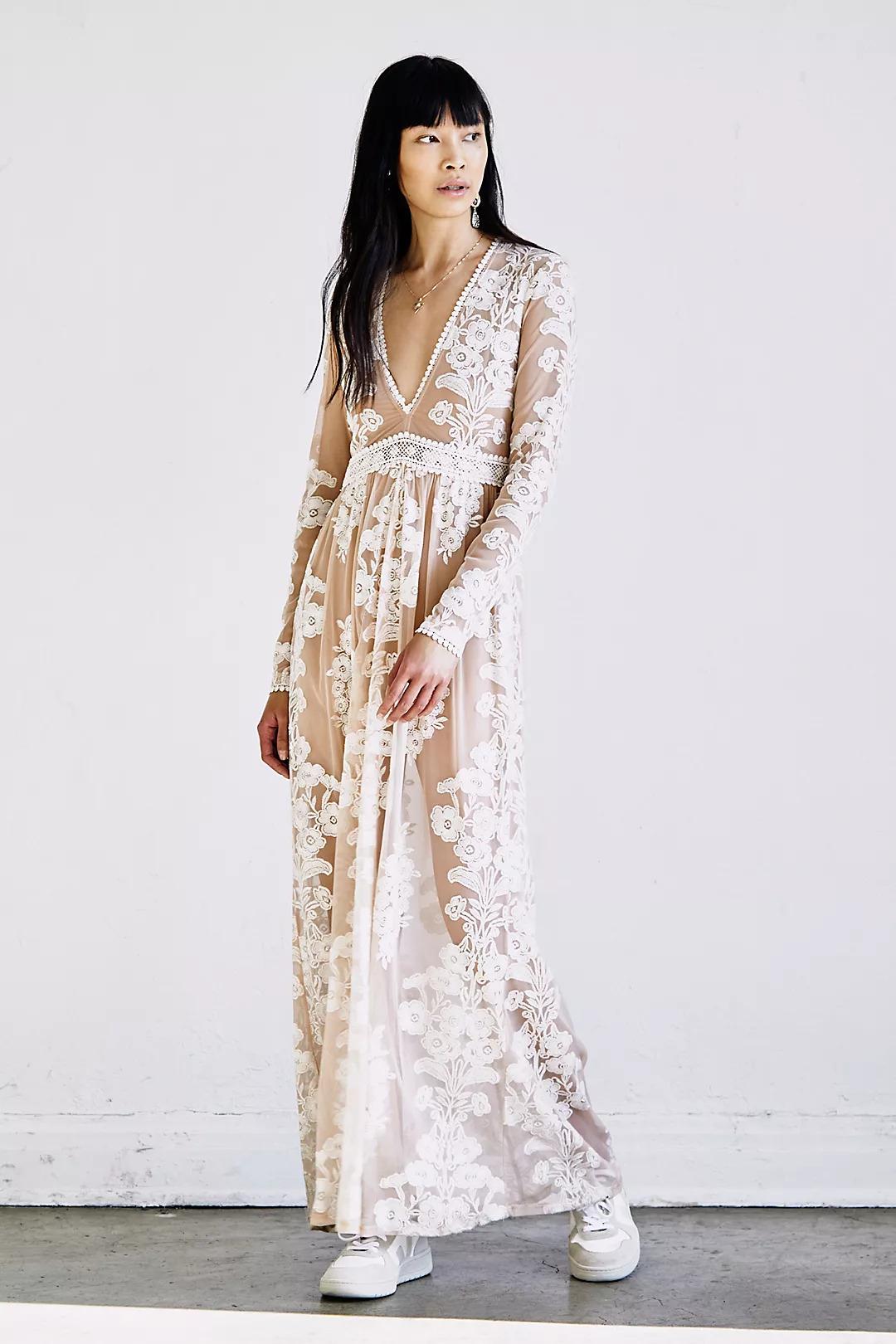 white lace boho bridesmaid dress