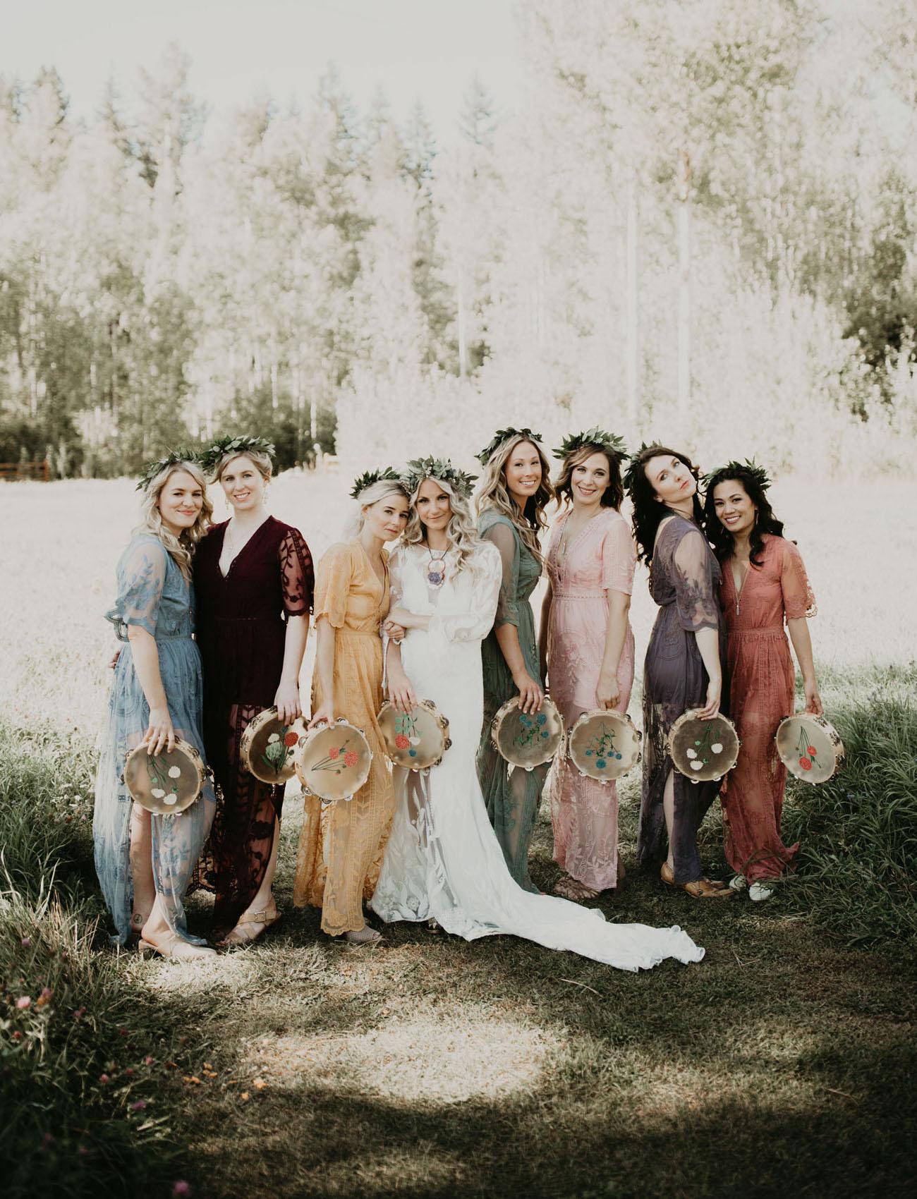 boho mismatched bridesmaids