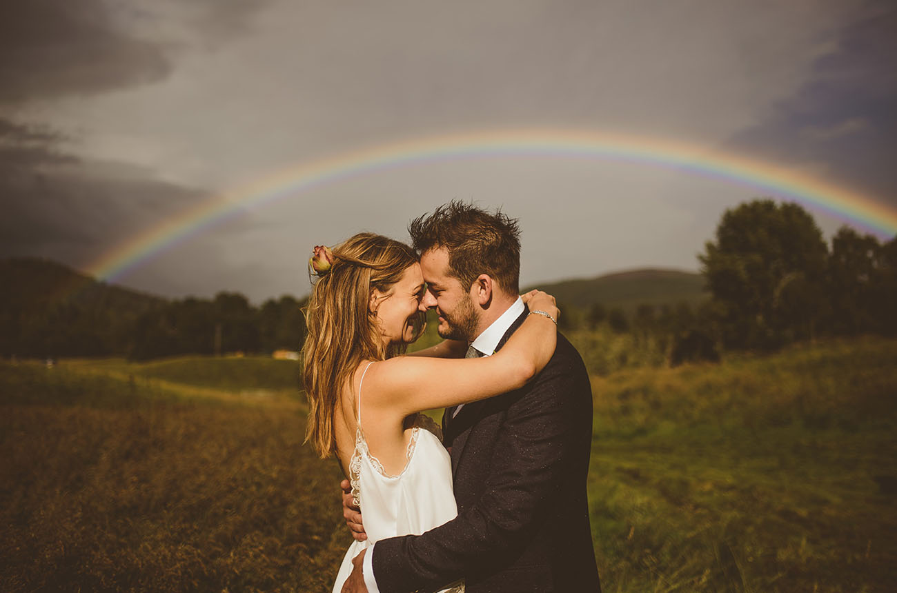 rainy wedding rainbow