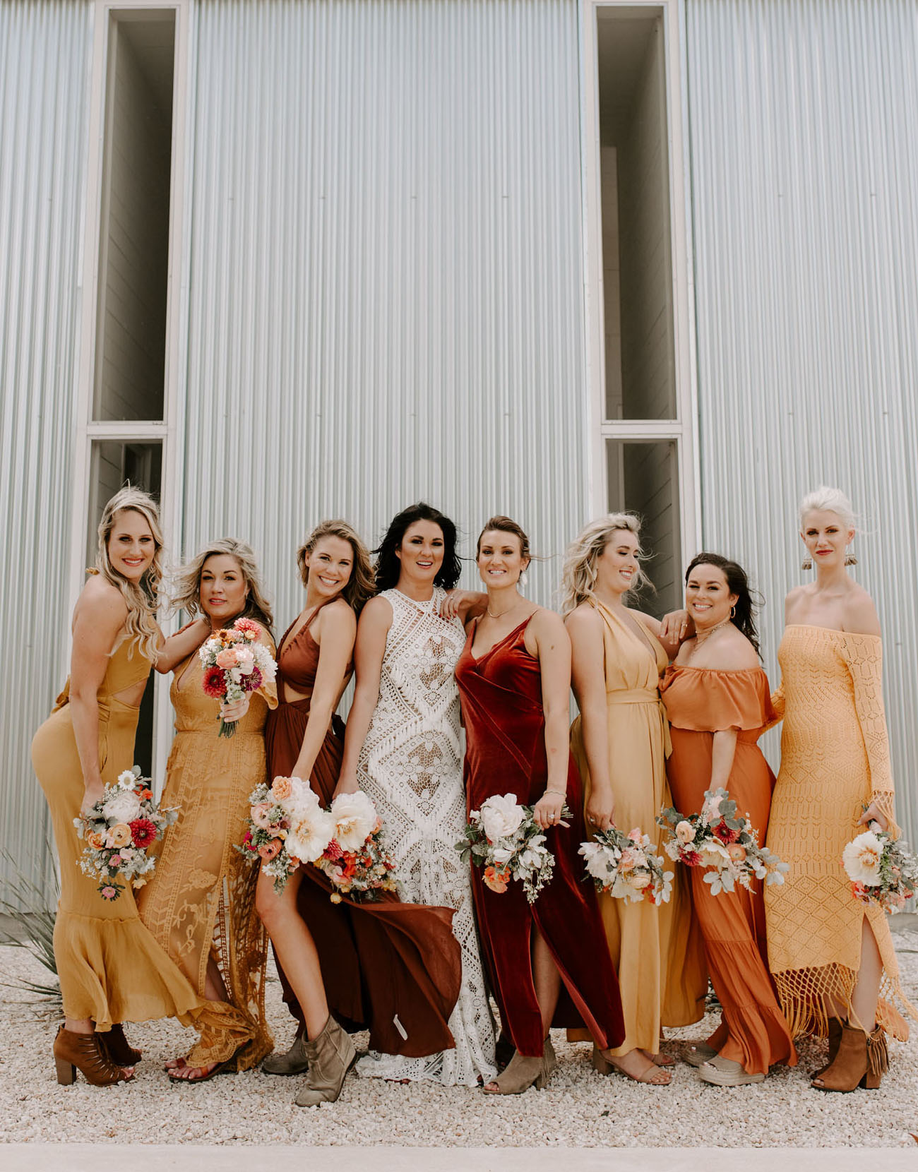 sunset tone bridesmaids