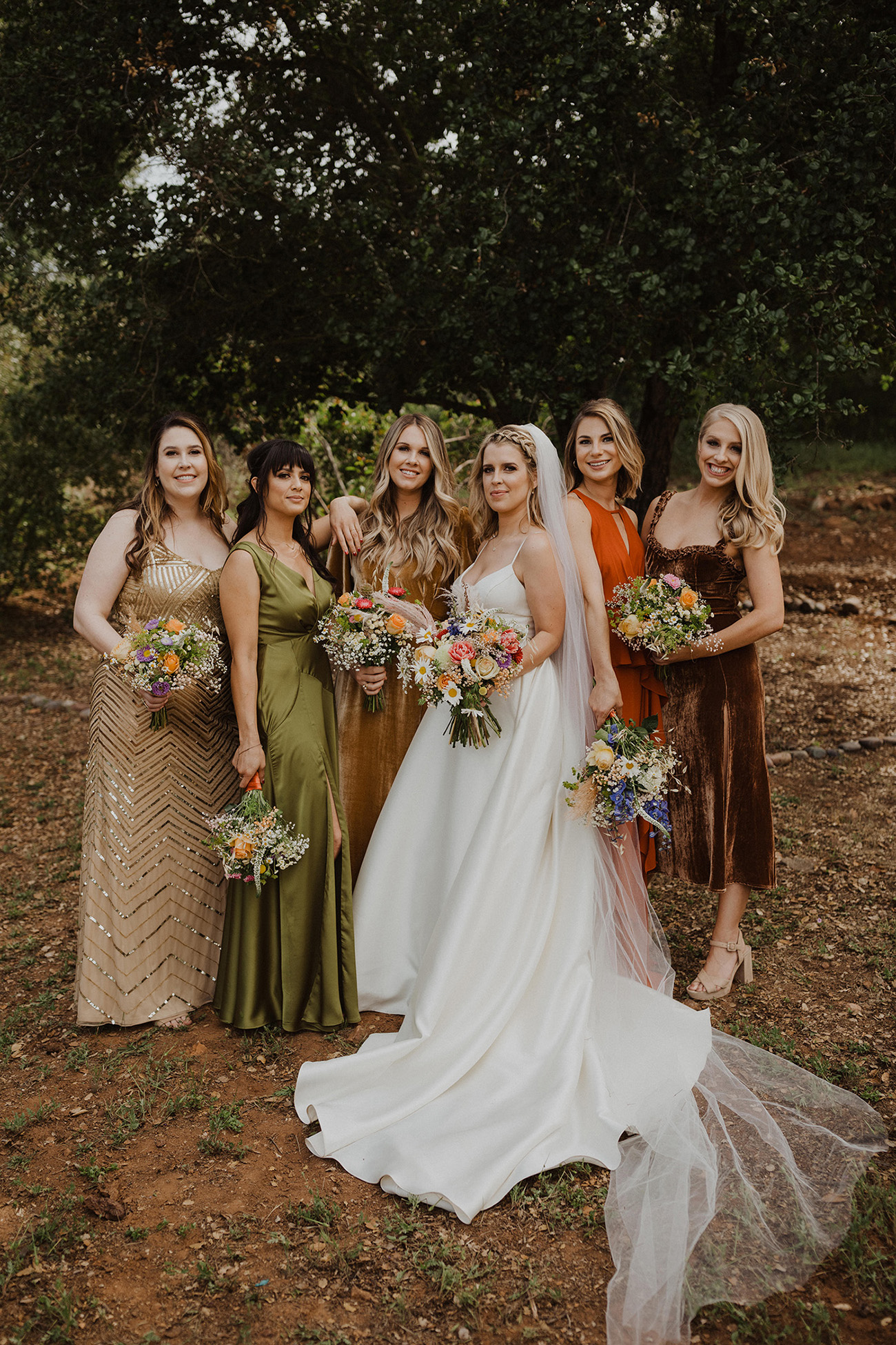 fall mismatched bridesmaids