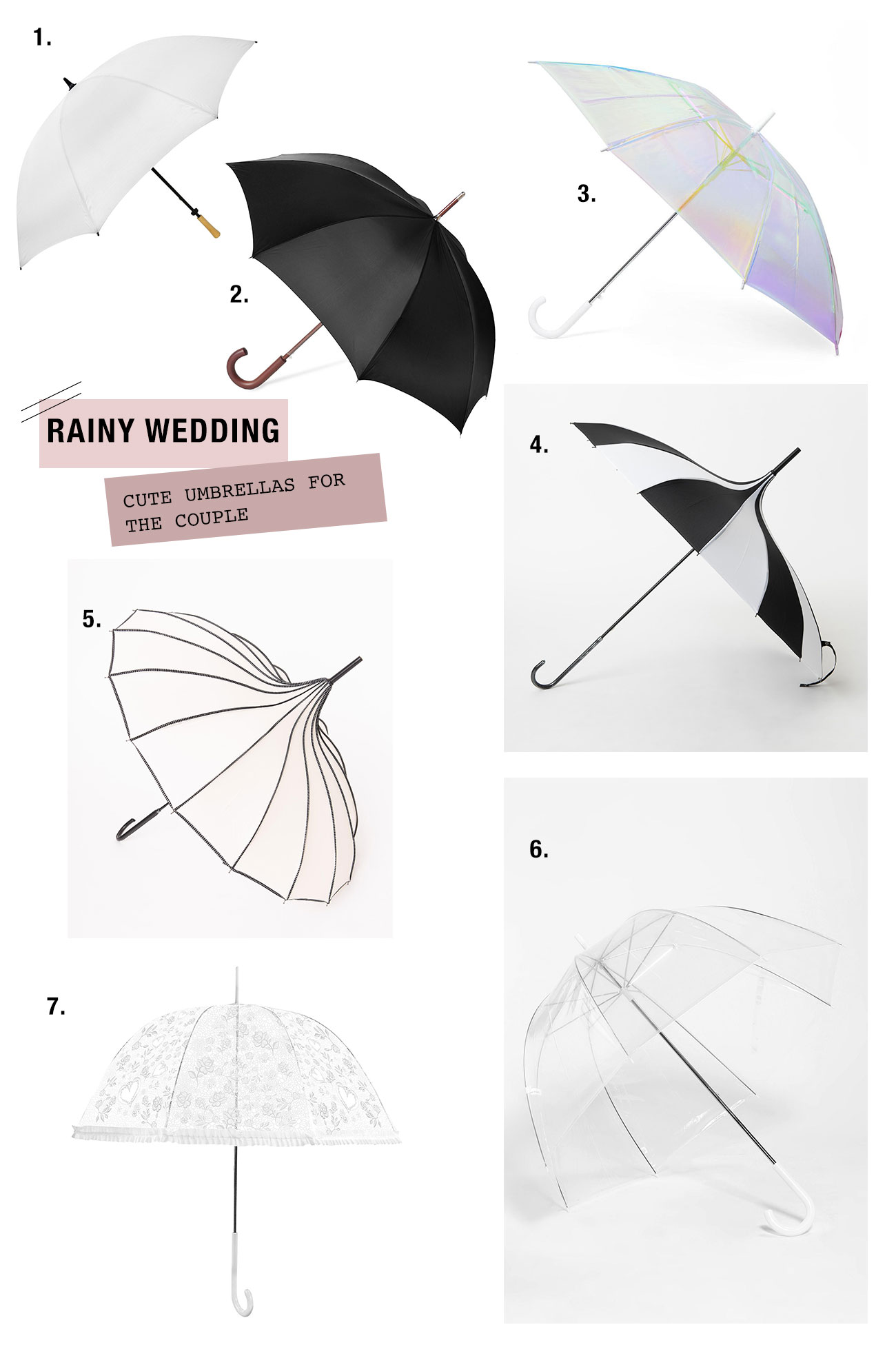 the cutest umbrellas for your rainy wedding day