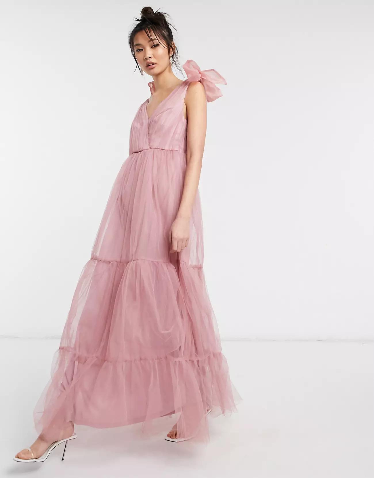 blush tulle bridesmaid dress