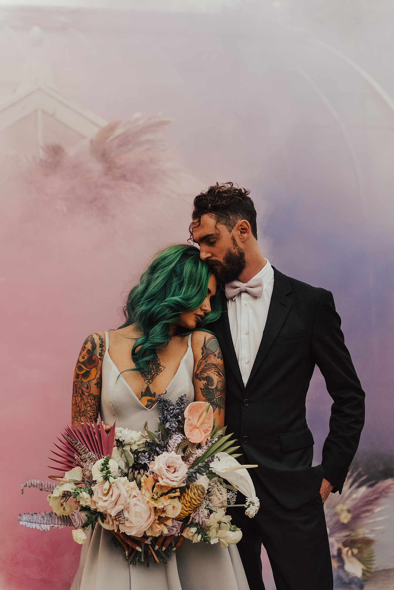colorful smoke bomb backdrop
