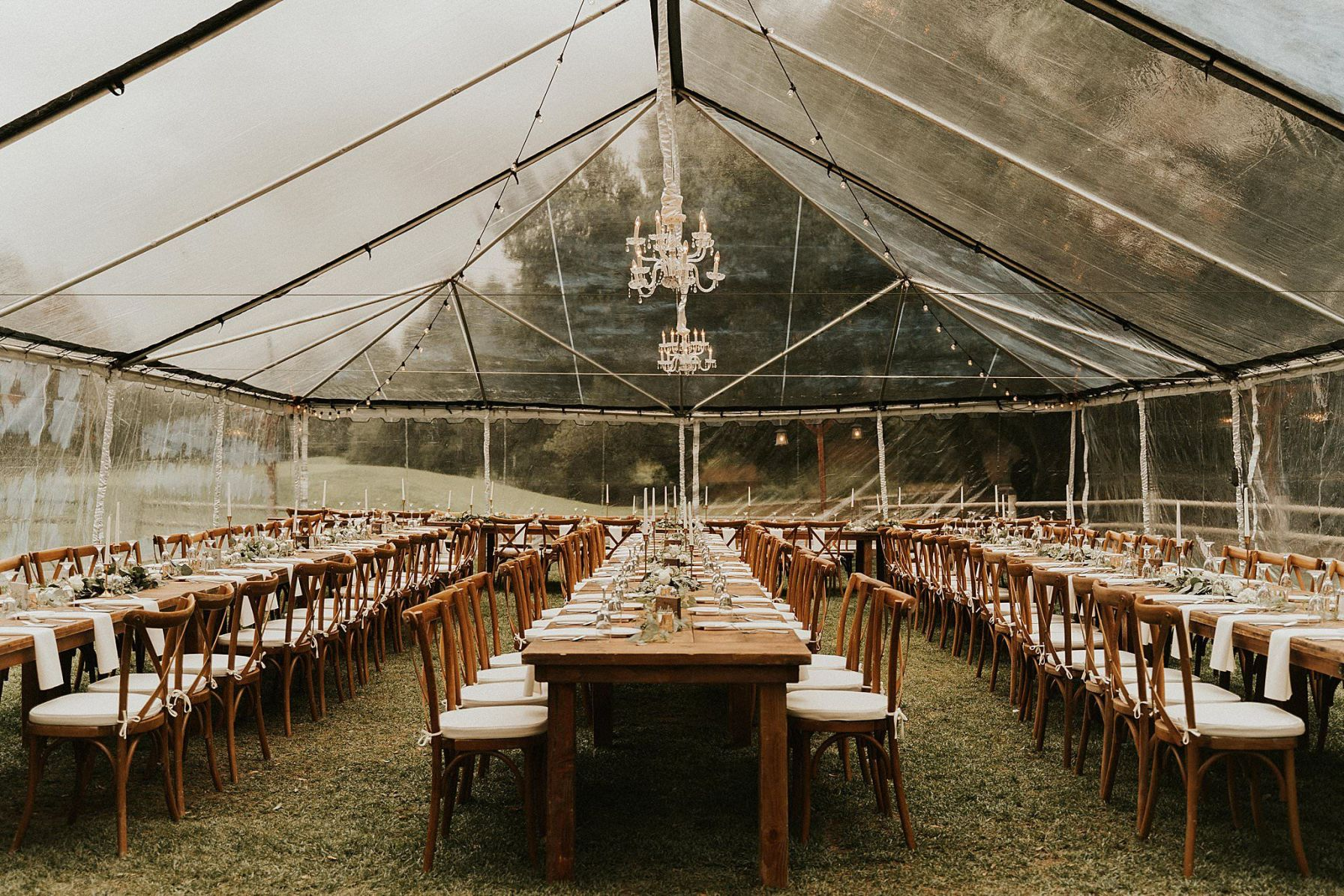 dreamy rainy reception clear tent