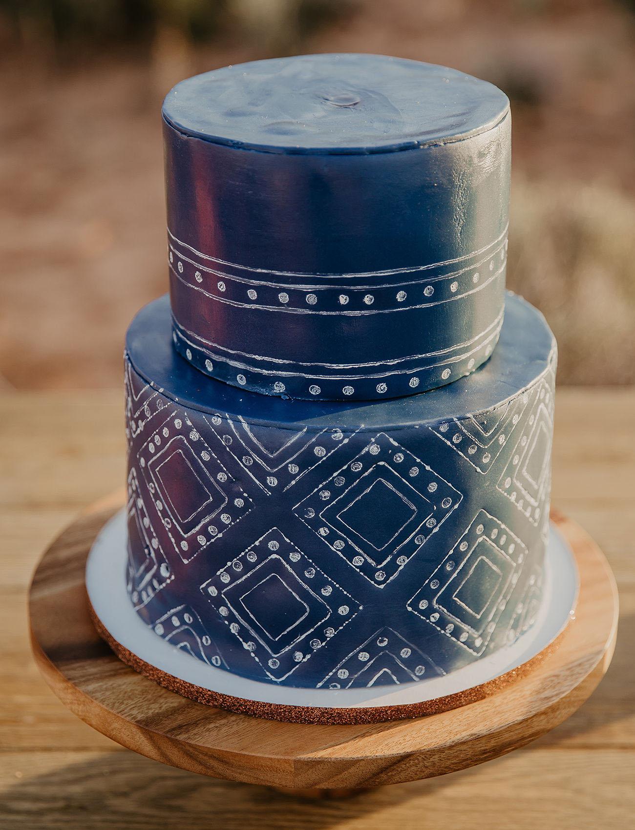 indigo shibori wedding cake