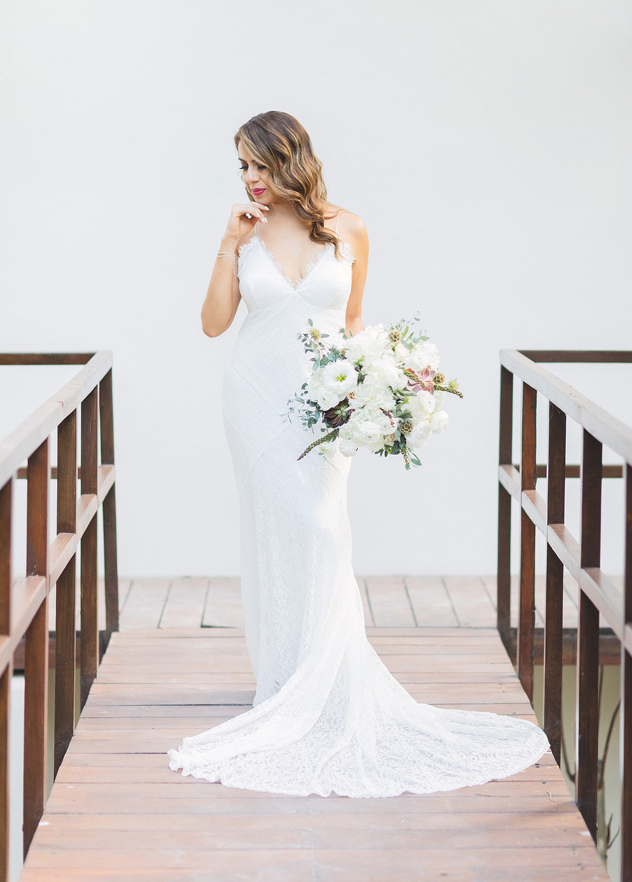 Drew Lace Wedding Dress by Lovers Society and Green Wedding Shoes