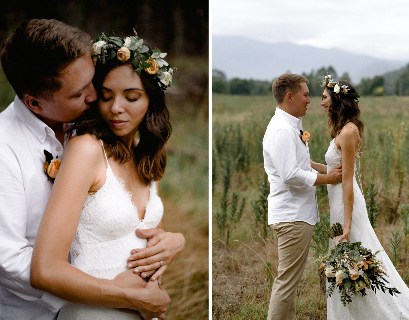 drew lace wedding gown by lovers society and green wedding shoes