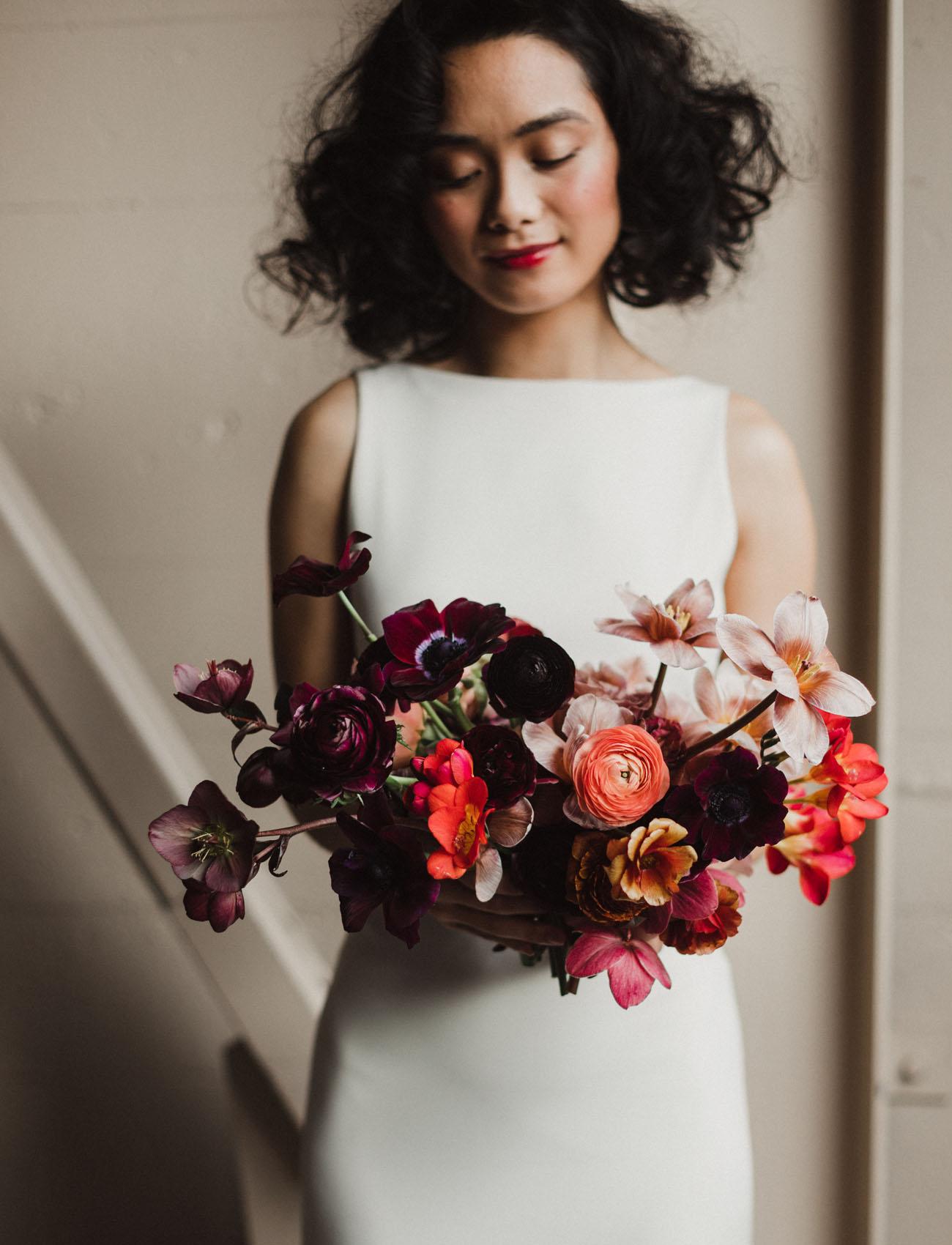 burgundy ranunculus bouquet
