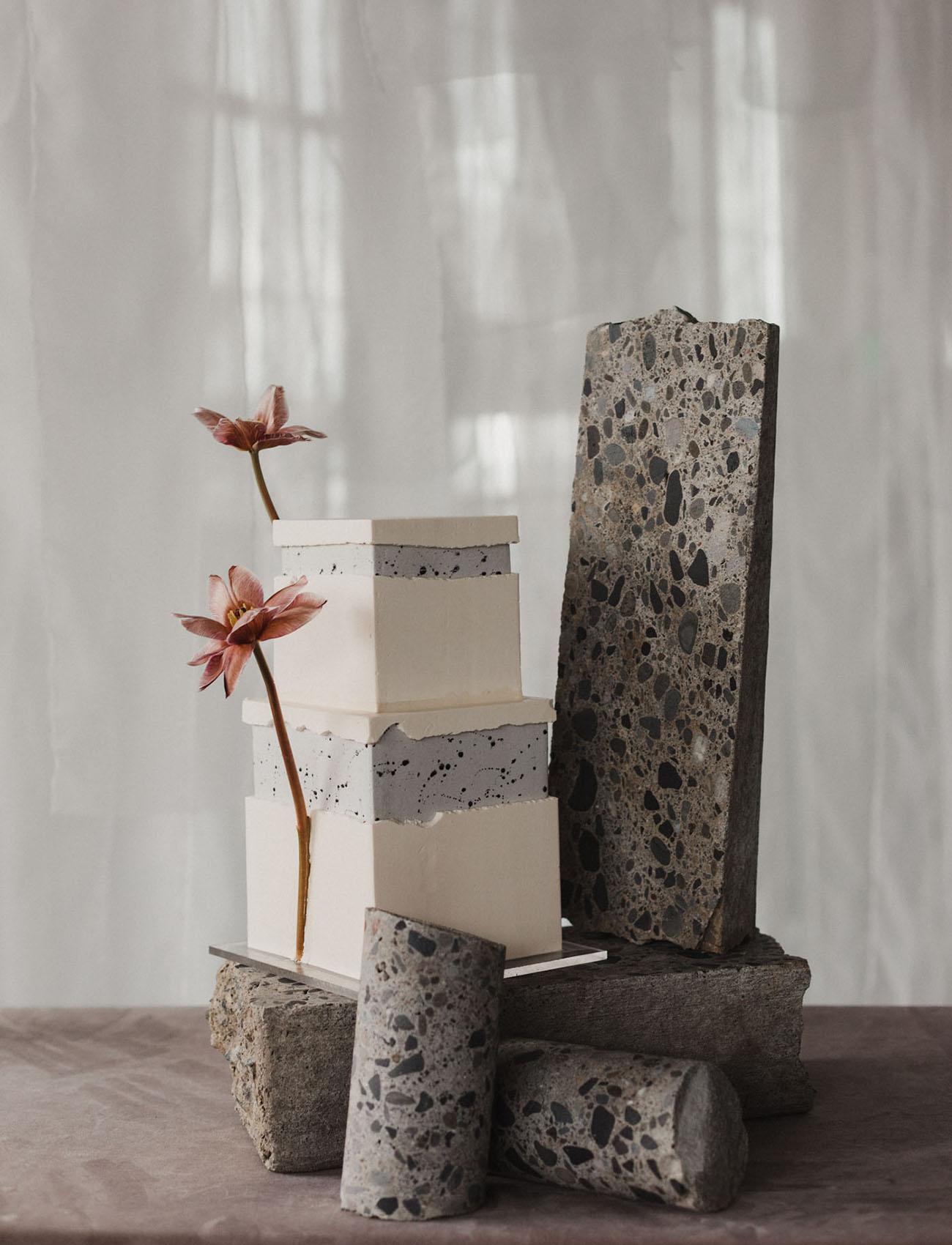 concrete terrazzo wedding cake