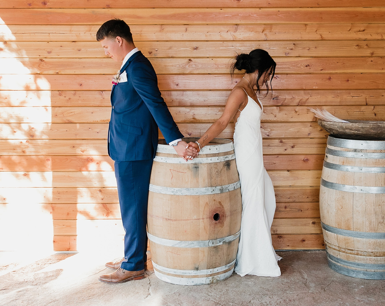 First Look in the Wyatt Dress by Lovers Society and Green Wedding Shoes
