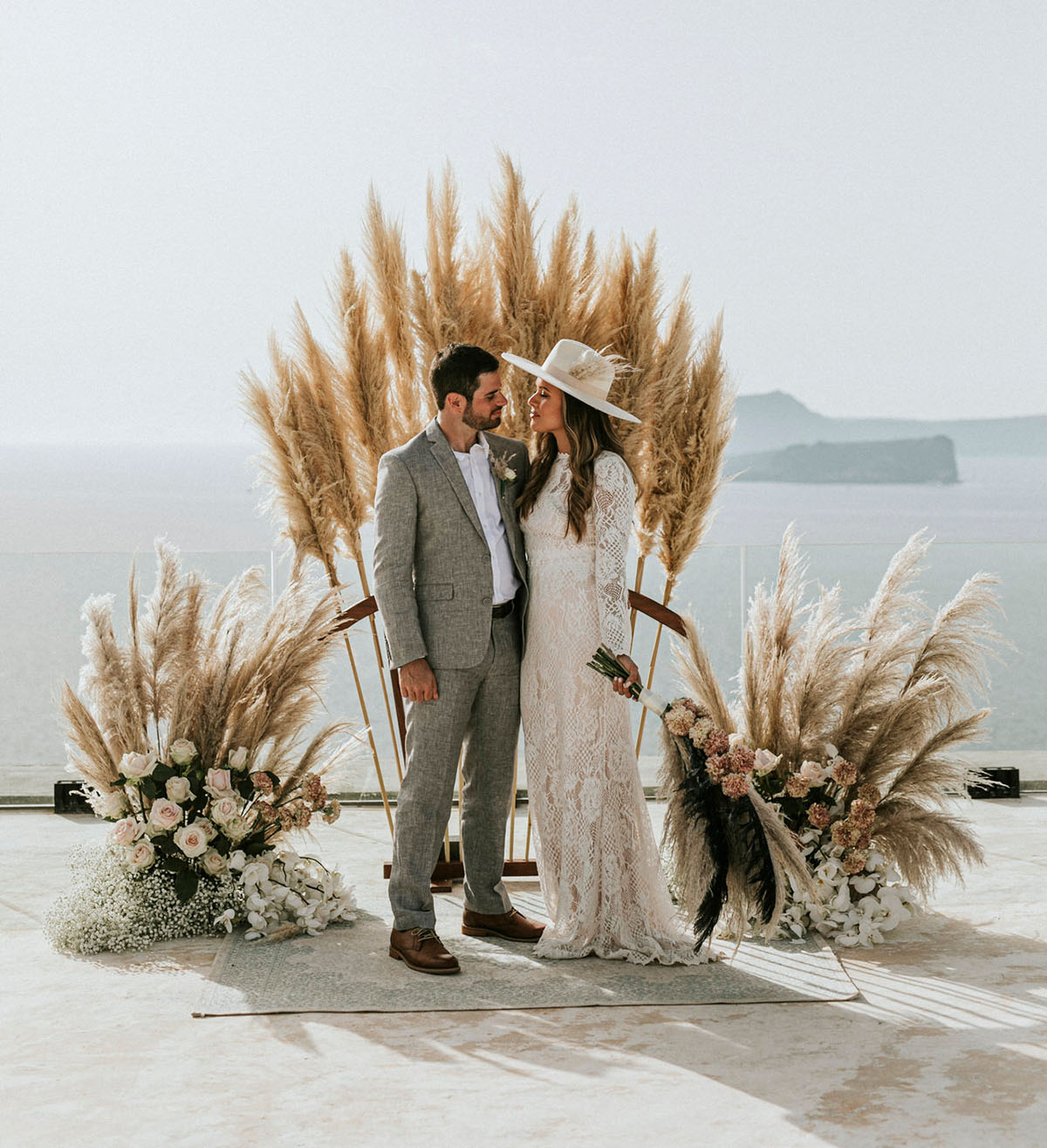 Romantic Santorini Elopement with Plenty of Pampas Grass