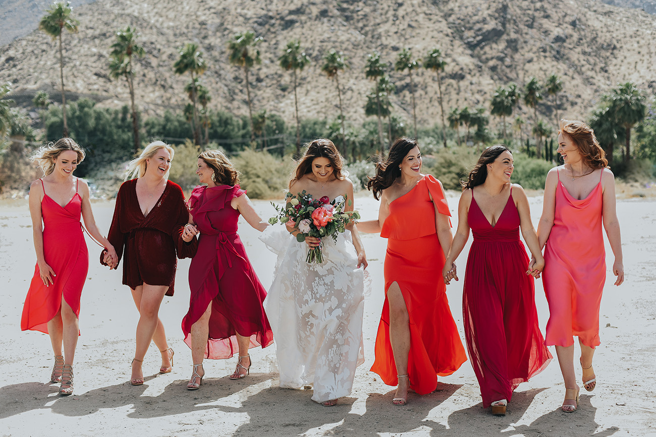 bright colored mismatched bridesmaids