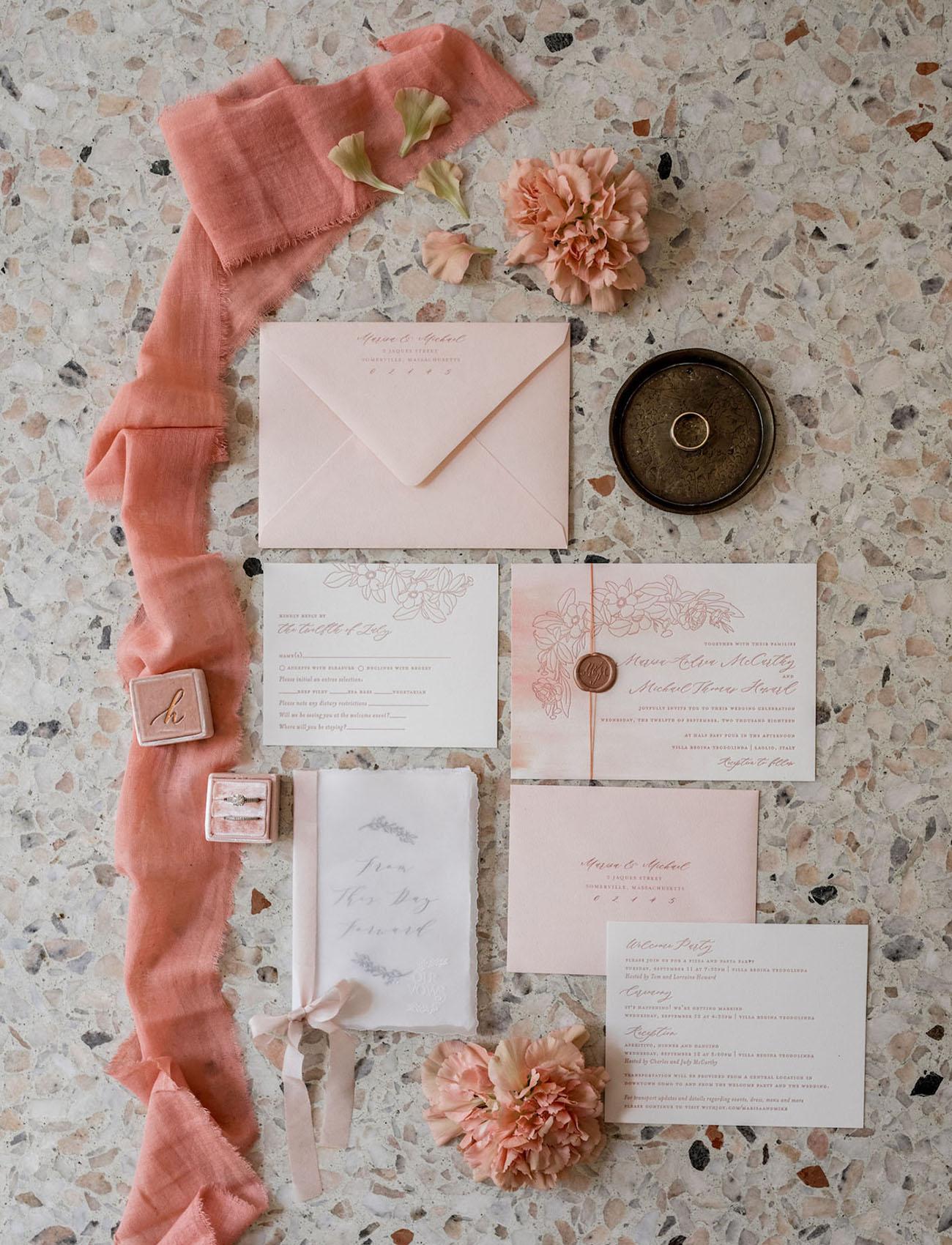 blush invitation suite