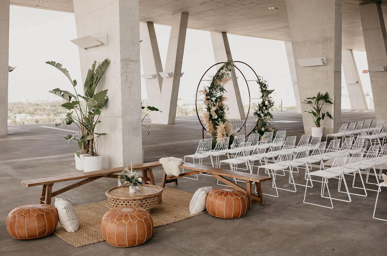 boho ceremony lounge