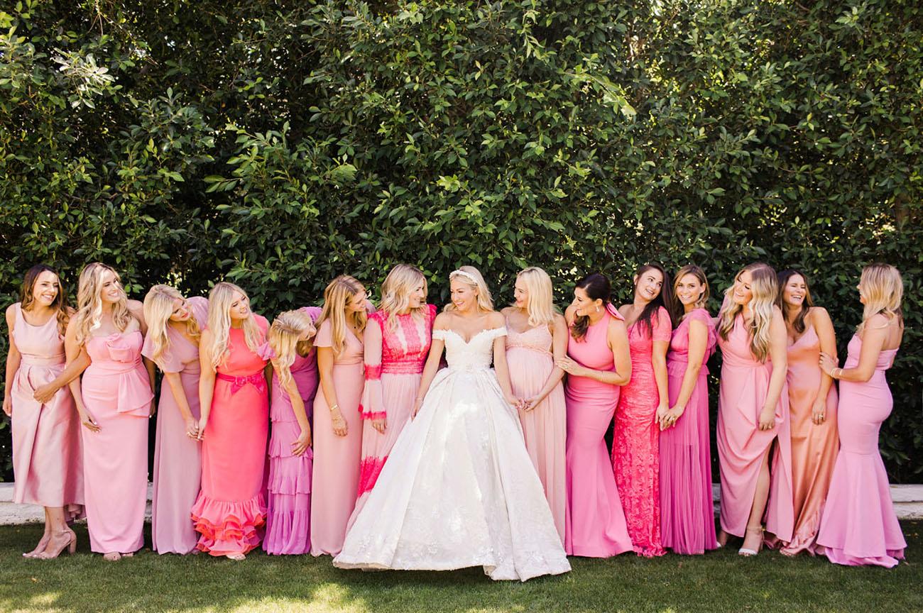 pink mismatched bridesmaids