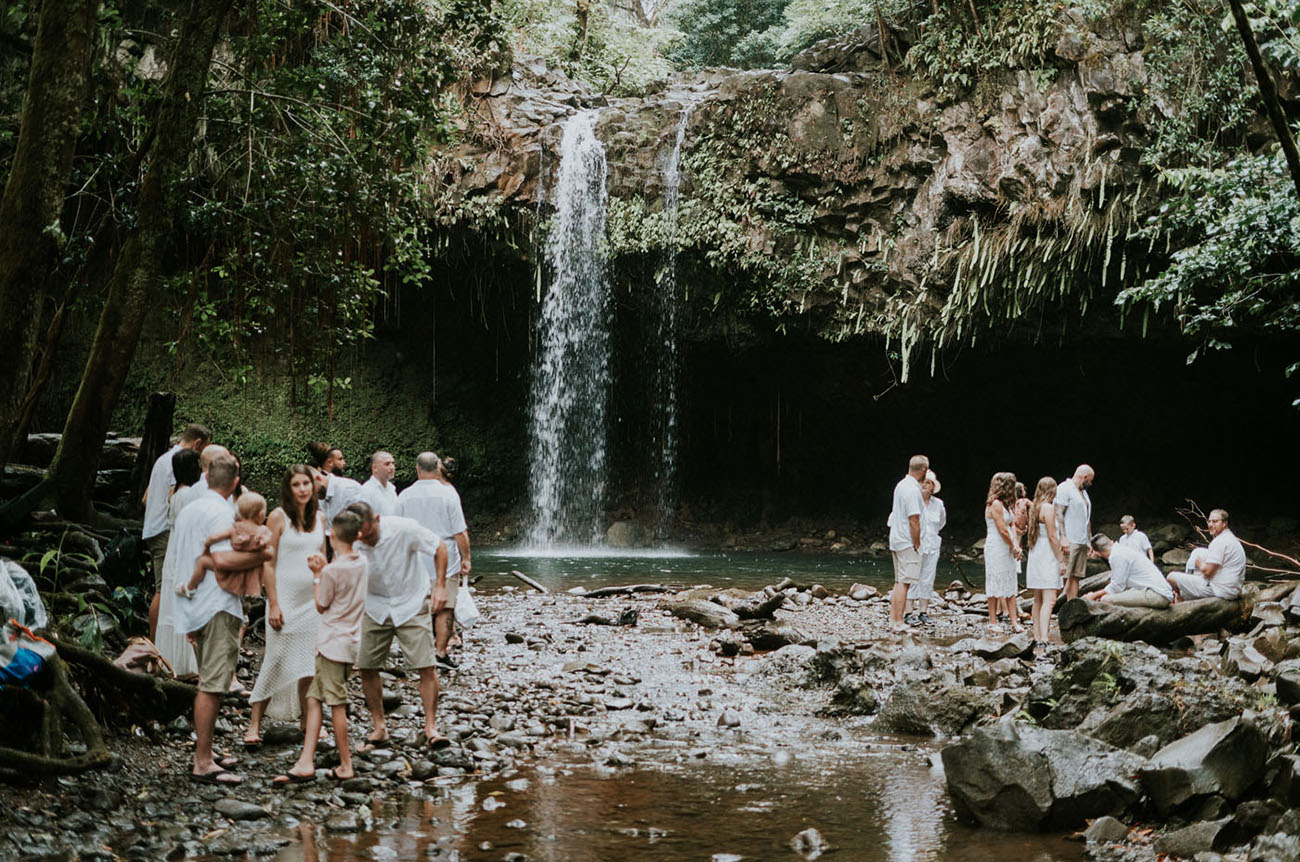 Twin Falls Maui Waterfall Elopement