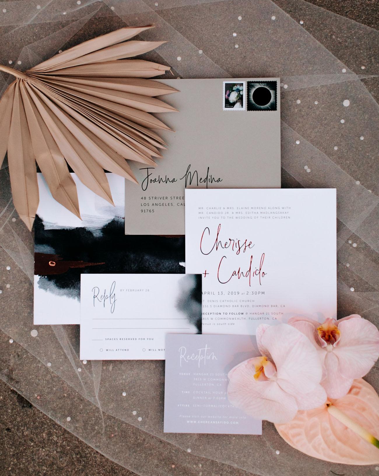 modern mauve wedding invitation
