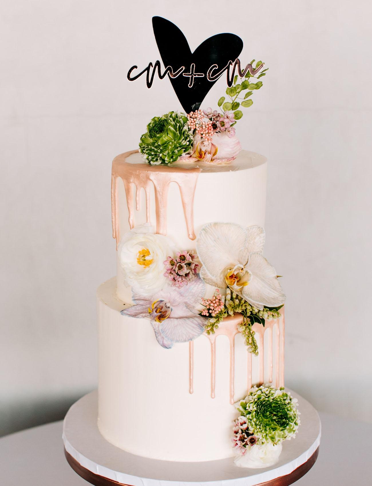 pink drip cake