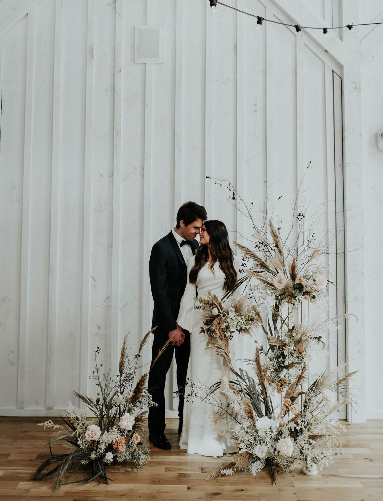 boho dried flower backdrop