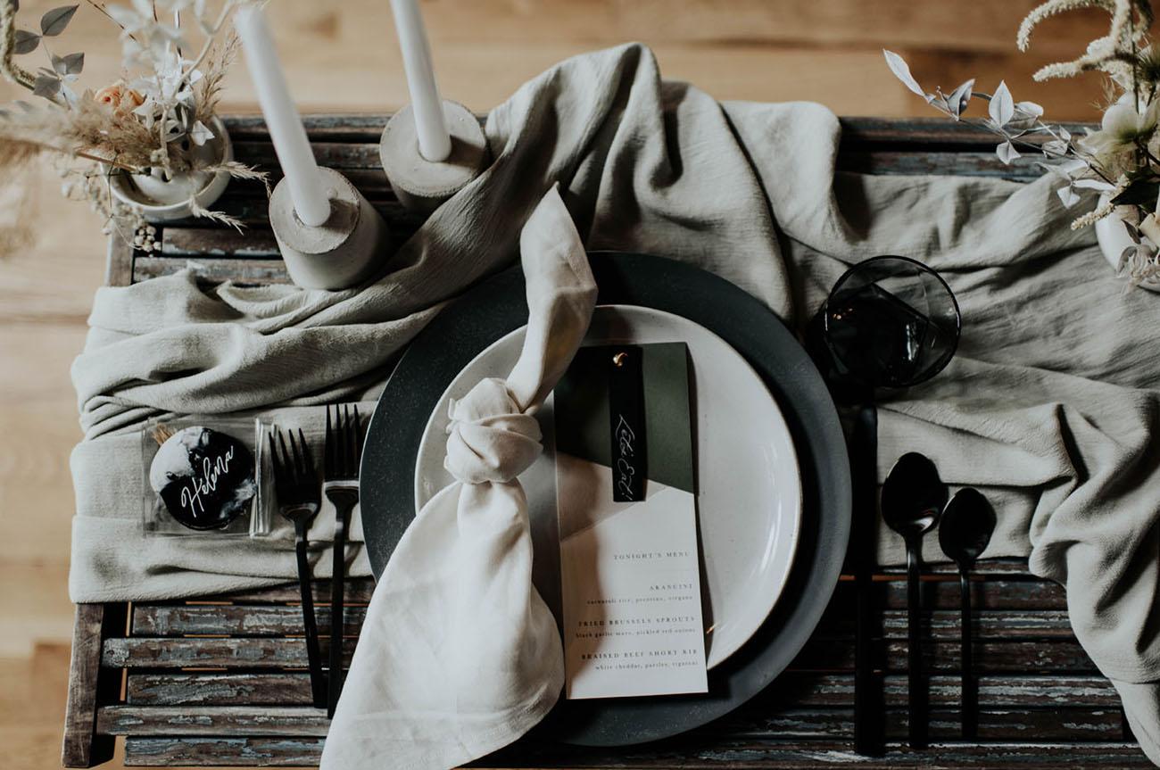 gray tablescape design