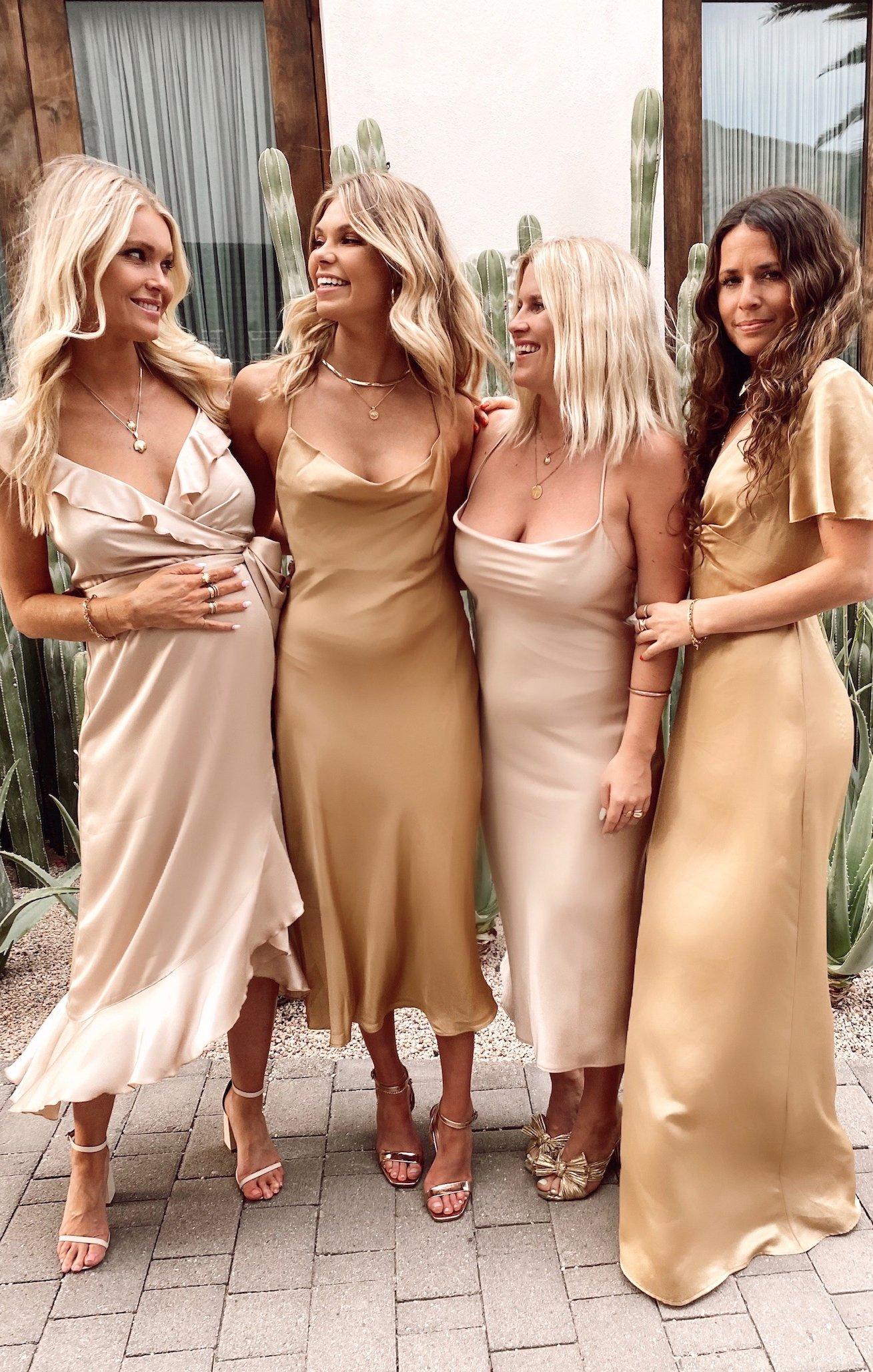 gold mismatched bridesmaid dresses