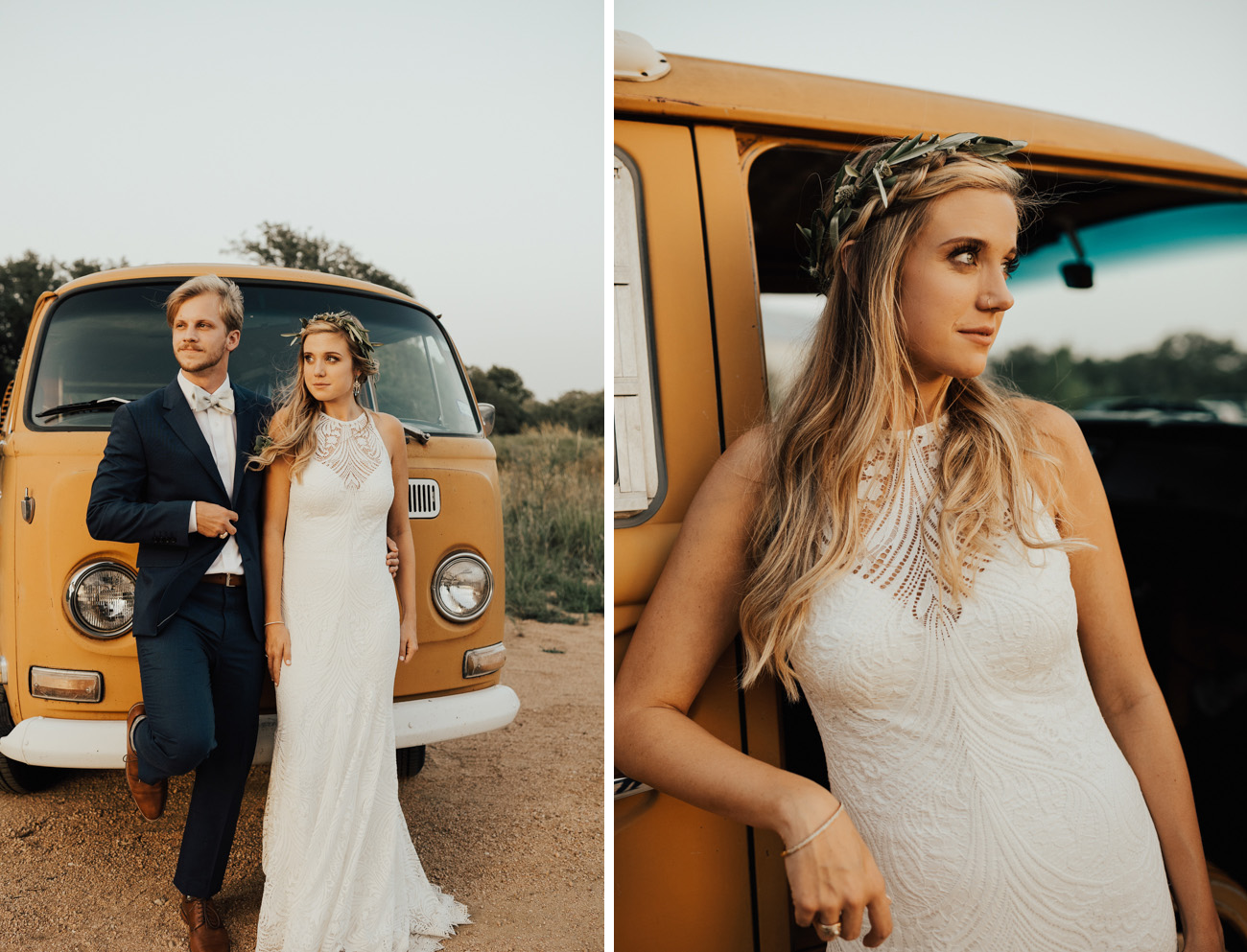 Phoenix Wedding Gown with a VW Bus