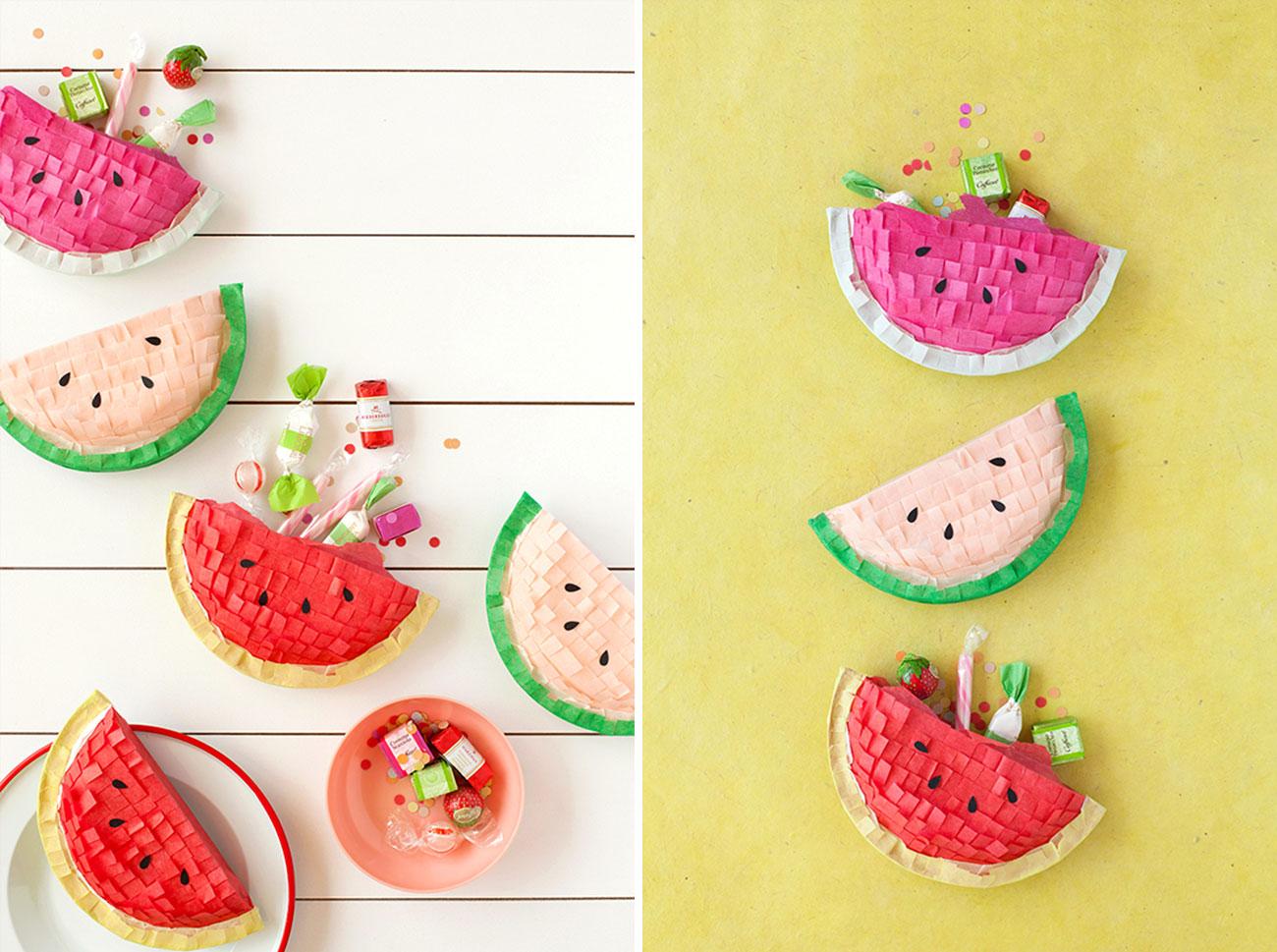 DIY watermelon piñatas favors