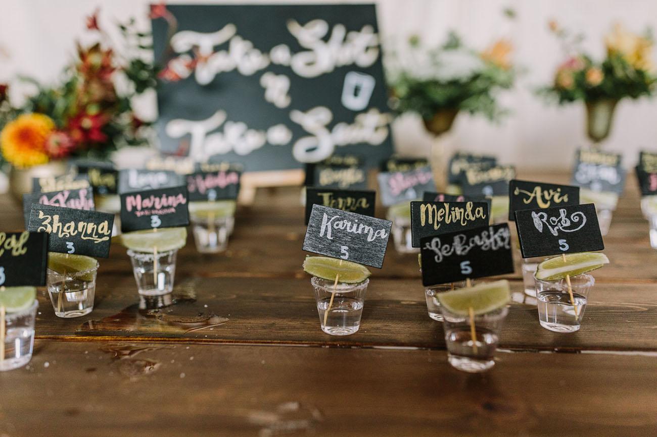 wedding shot escort cards