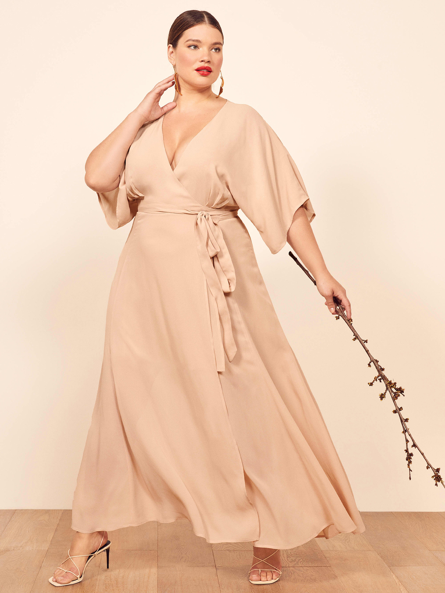 blush bridesmaid wrap dress reformation