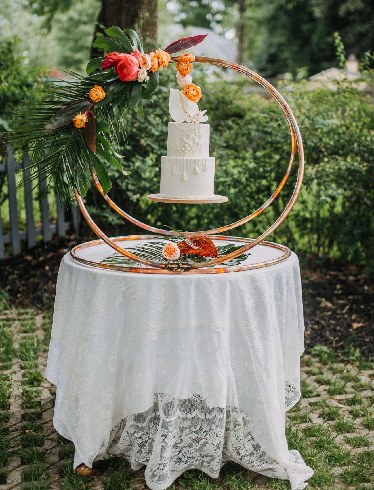 tropical cake display