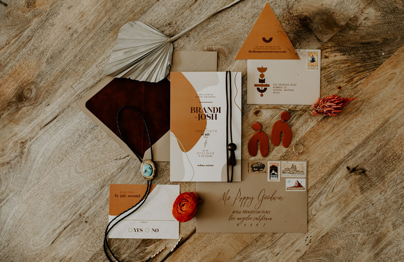 modern rust invitation design