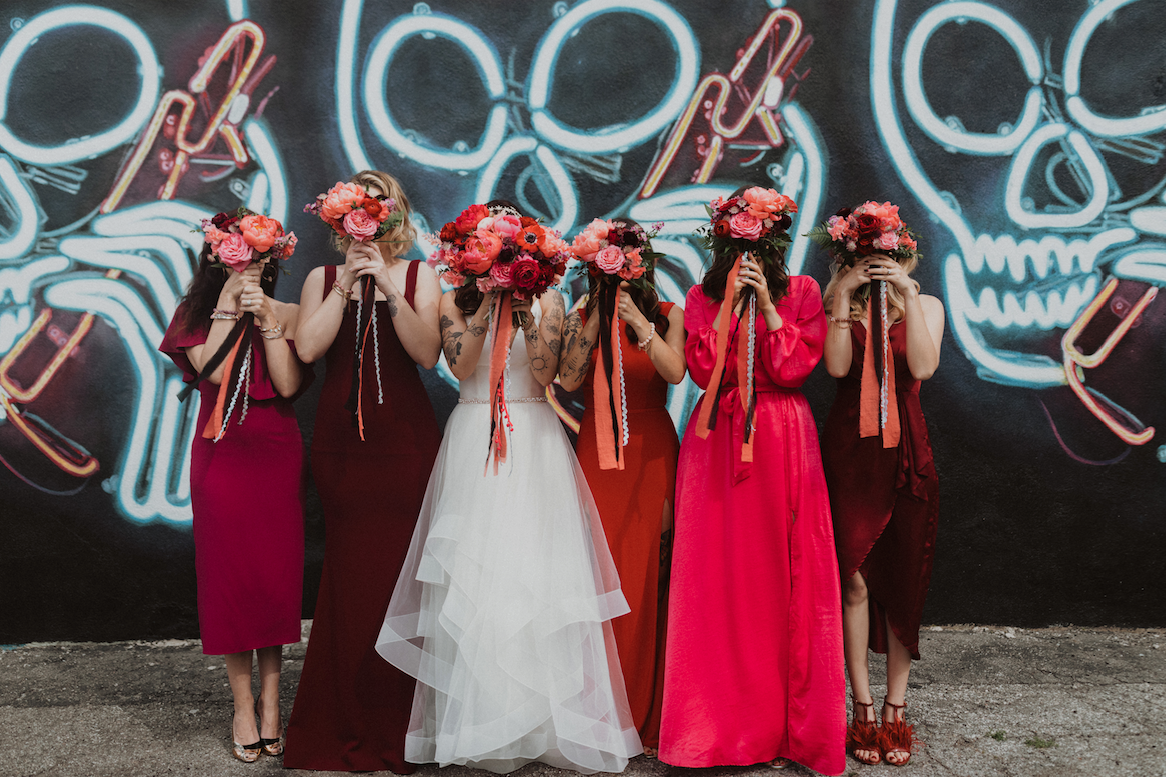 pink and red mismatched bridesmaids