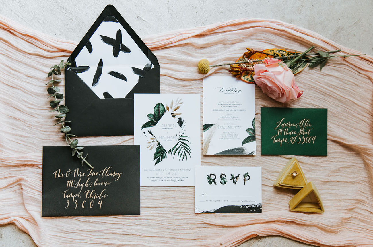 modern wedding invitation with liner