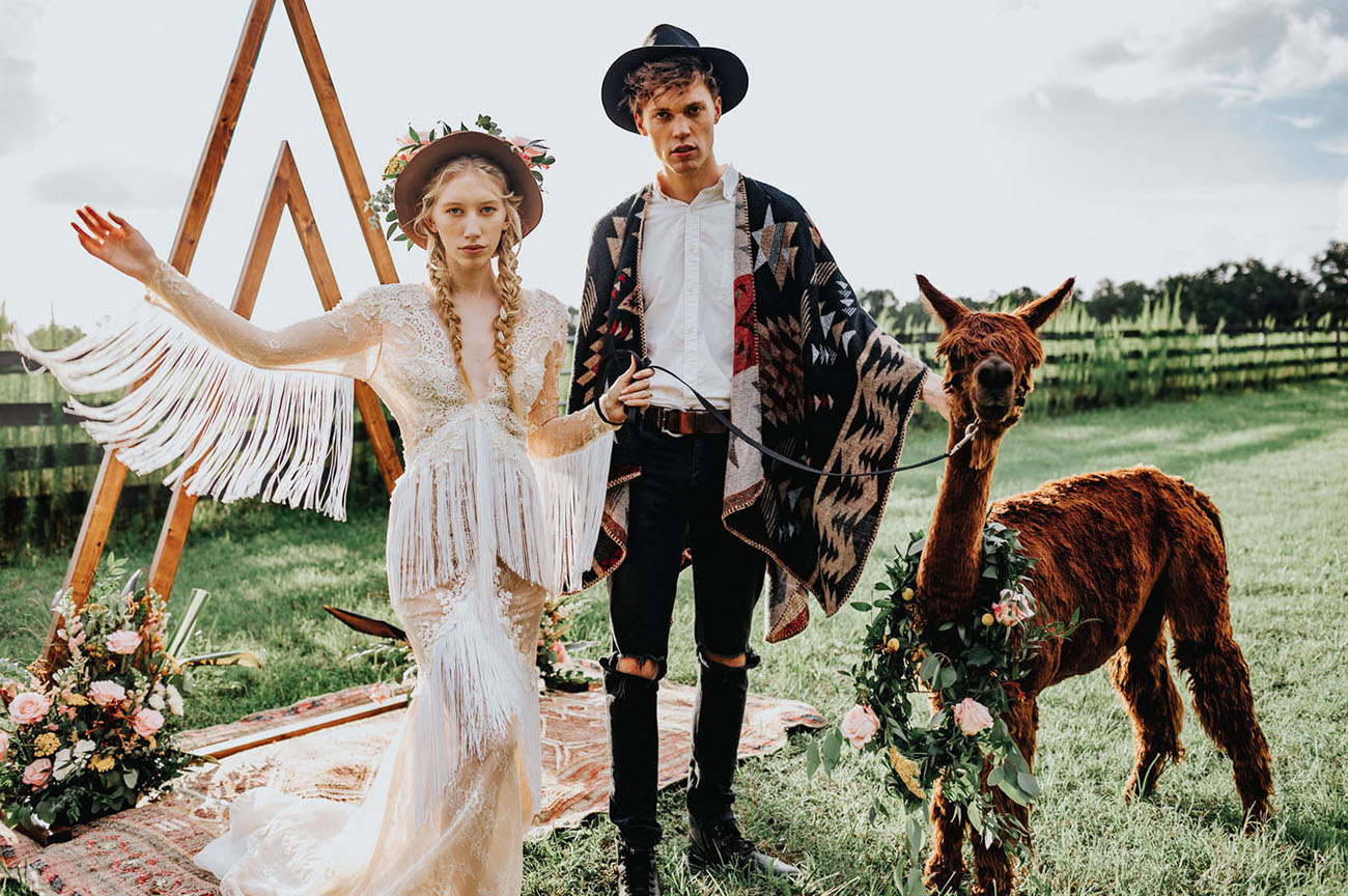 These Two Rocked a Poncho and a Fringe Dress for this Folksy Wedding with Modern Country Flair